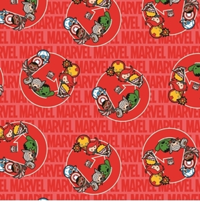 Picture of Marvel Comics Kawaii United Young Superheroes Red Cotton Fabric