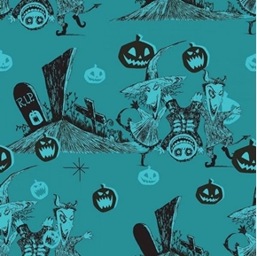 Picture of Disney Graveyard Fun Nightmare Before Christmas Teal Cotton Fabric