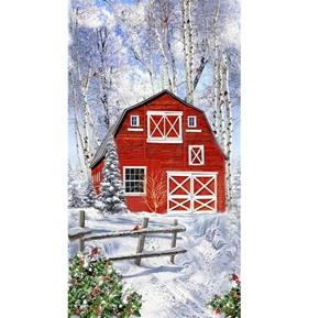 Picture of Red Winter Barn in the Snow 24x44 Cotton Fabric Panel