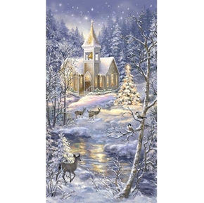 Picture of Winter Blessing Snowy Christmas Church Scene 24x44 Cotton Fabric Panel