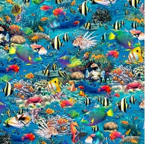 Picture of Artworks XVI Under the Sea Tropical Fish Coral Digital Cotton Fabric