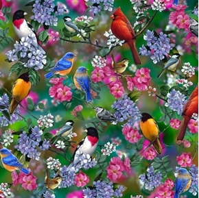 Picture of Songbirds Songbird Scenic Cardinal Bluebird Digital Cotton Fabric