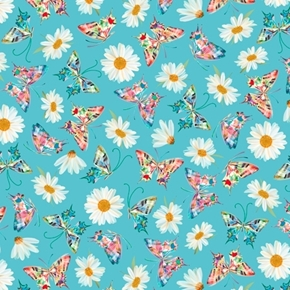 Picture of Daisy Meadow Daisy and Butterfly Toss Flower Aqua Cotton Fabric