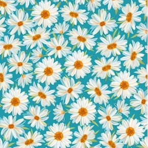 Picture of Daisy Meadow Daisies Bright Daisy Flower on Dark Aqua Cotton Fabric