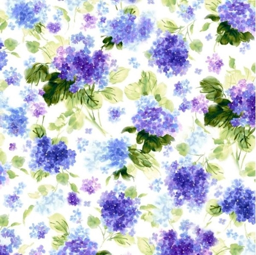 Picture of Hydrangea Blossoms Watercolor Hydrangeas Purple Flowers Cotton Fabric