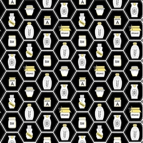 Picture of All the Buzz Honey Jars Honeycomb Ink and Arrow Black Cotton Fabric