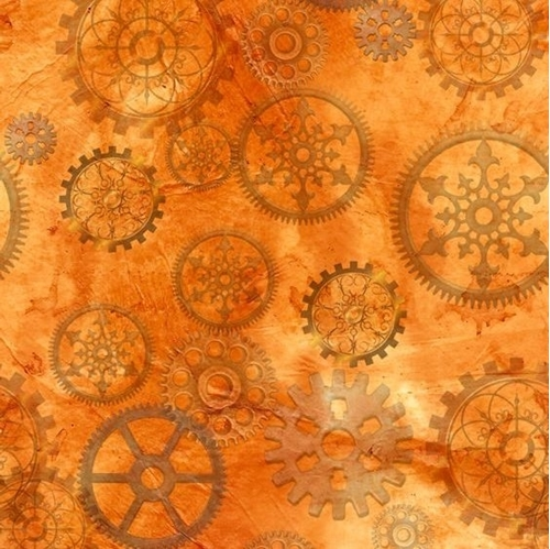 Picture of Steampunk Halloween Gears Clock Parts Orange Cotton Fabric