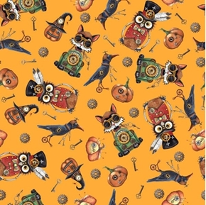 Picture of Steampunk Halloween Toss Mechanical Owl Cat Crow Orange Cotton Fabric
