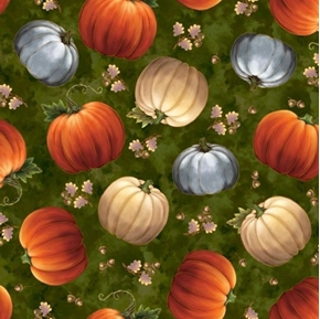 Picture of Harvest Elegance Tossed Pumpkins Acorns Autumn Evergreen Cotton Fabric