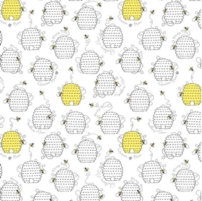 Picture of All the Buzz Beehives Quilting Bee Ink and Arrow White Cotton Fabric