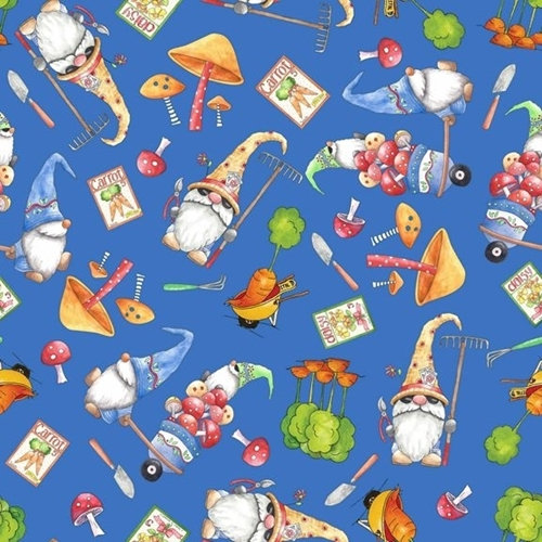 Picture of Gnomesville and Veggie Toss Gardening Gnome Dark Blue Cotton Fabric