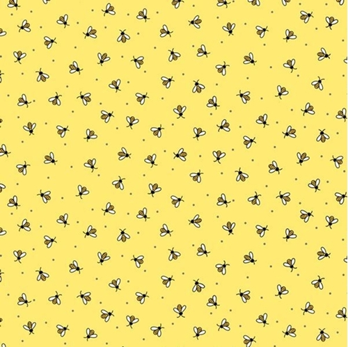 Picture of All the Buzz Bees Tiny Bee and Dot Ink and Arrow Yellow Cotton Fabric