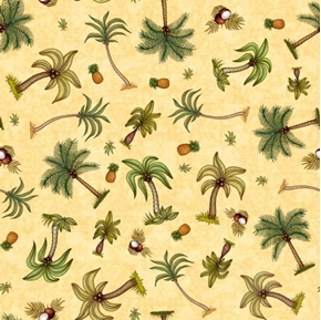 Picture of Postcards From Paradise Palm Trees Pineapples Chamois Cotton Fabric