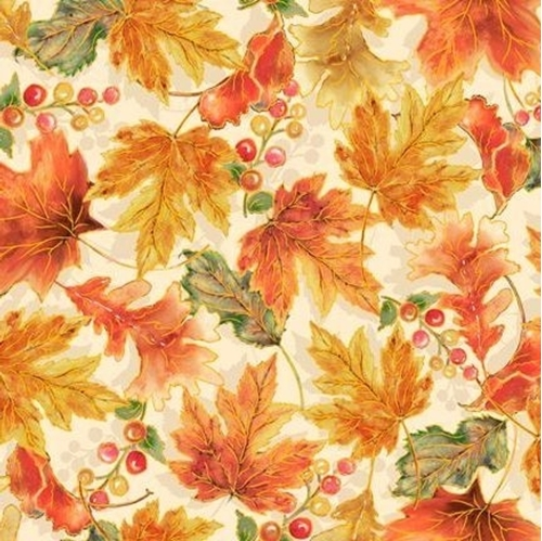 Picture of Harvest Elegance Autumn Leaves Fall Leaf Cream Cotton Fabric