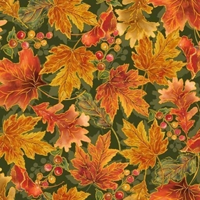 Picture of Harvest Elegance Autumn Leaves Fall Leaf Evergreen Cotton Fabric