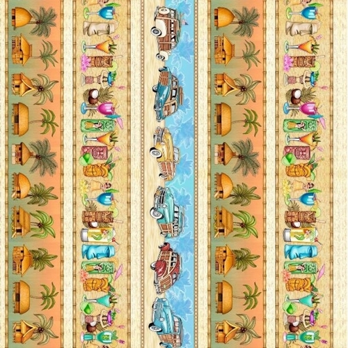 Picture of Postcards From Paradise Tiki Huts Drinks Woodie Stripe Cotton Fabric