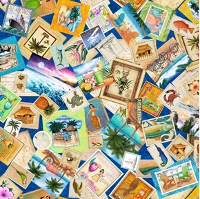 Picture of Postcards From Paradise Tropical Travel Photos Cotton Fabric