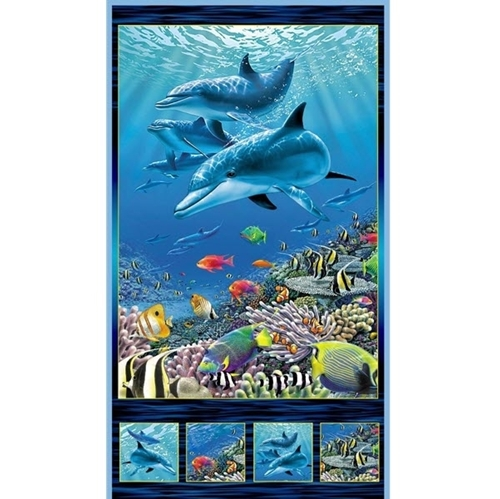 Picture of Artworks XVI Dolphin Underwater Digital 24x44 Cotton Fabric Panel