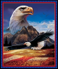 Picture of Artworks XVI American Eagle Patriotic Digital Cotton Fabric Panel