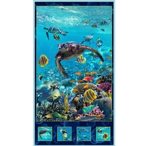 Picture of Artworks XVI Sea Turtle Underwater Digital 24x44 Cotton Fabric Panel