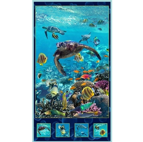 Picture of Artworks XVI Sea Turtle Underwater Digital 24x44 Cotton Fabric Panel