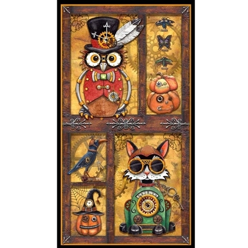 Picture of Steampunk Halloween Mechanical Owl Cat Crow 24x44 Cotton Fabric Panel