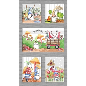 Picture of Gnomesville Whimsical Gnome Life 24x44 Cotton Fabric Panel