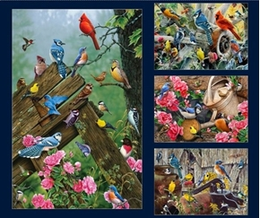 Picture of Songbirds Large Songbird Patches Digital Cotton Fabric Panel