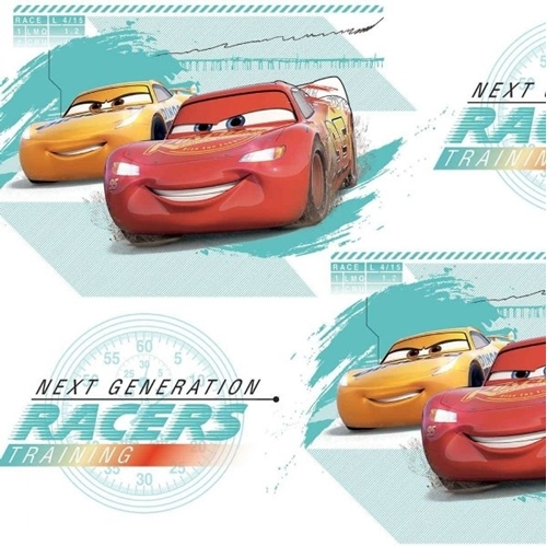 Disney Cars 3 Friend Racers Next Generation Racers White Cotton Fabric