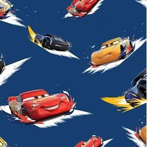 Disney Cars 3 Toss Jackson Storm Cruz Ramirez Blue Cotton Fabric
