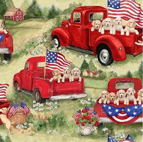 Patriotic Puppies in Red Truck Susan Winget Cotton Fabric