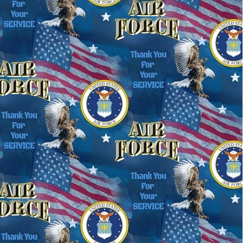 US Air Force Military Flags Thank You for Your Service Cotton Fabric