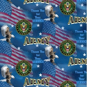 US Army Military Flags Thank You for Your Service Cotton Fabric