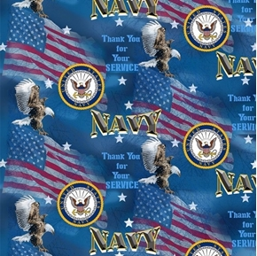 US Navy Military Flags Thank You for Your Service Cotton Fabric