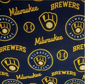 MLB Baseball Milwaukee Brewers 2020 Navy Blue 18x29 Cotton Fabric