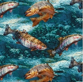 Picture of Troutman Basin Rainbow Trout Fish in Blue Stream Cotton Fabric