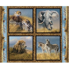 Picture of Wild Wings Kenyan Plains African Animal Cotton Pillow Panel Set