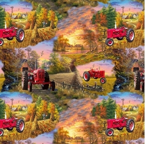 Picture of Farmall Tractor Scenic Country Living McCormick Farmall Cotton Fabric