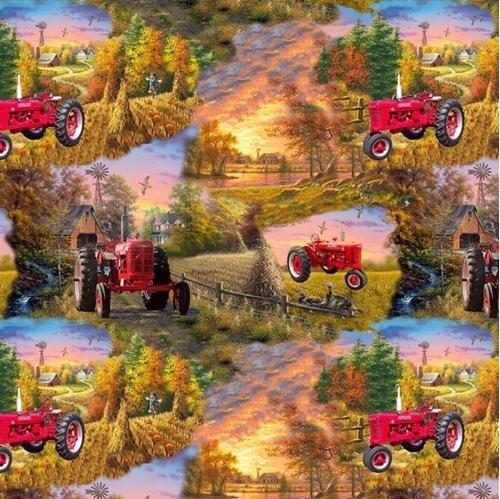 Picture of Farmall Tractor Scenic Country Living McCormick Farmall Cotton Fabric