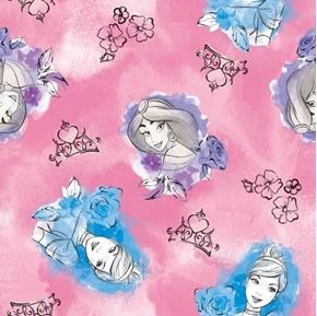 Picture of Disney Princess Toss Jasmine Cinderella Sketch Pink Cotton Fabric