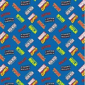 Picture of Marvel Comic Avengers Hero Logos Thor Hulk Ironman Blue Cotton Fabric