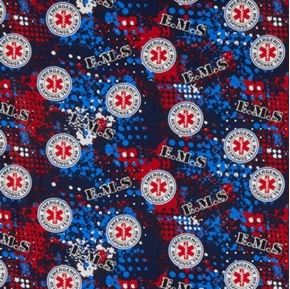 Picture of Emergency Rescue Team EMS 911 Abstract Geo Paramedic Cotton Fabric