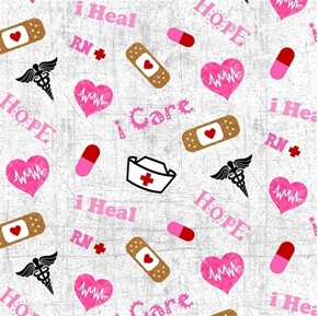 RN Nurse Band-Aids Hope Heal Pills Hats Hearts Nursing Cotton Fabric