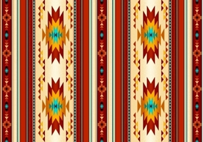 Picture of Tucson Southwest Native American Terracotta Small Stripe Cotton Fabric