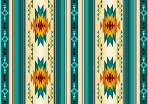 Picture of Tucson Southwest Native American Turquoise Small Stripe Cotton Fabric
