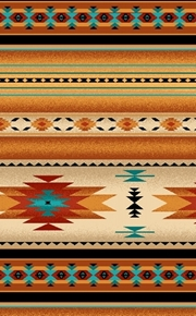 Picture of Tucson Southwest Aztec Native American Gold Stripe Cotton Fabric