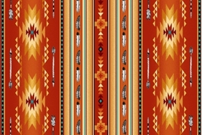 Picture of Native Spirit Southwest Arrow Feather Stripe Terracotta Cotton Fabric
