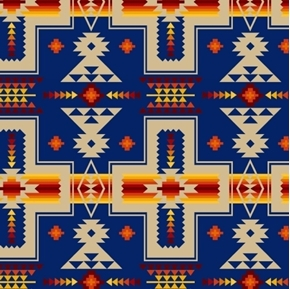 Picture of Tucson Southwest Aztec Red Orange Design on Blue Cotton Fabric