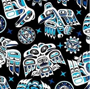 Picture of Native Spirit Southwest Tribal Animal Symbols Black Blue Cotton Fabric