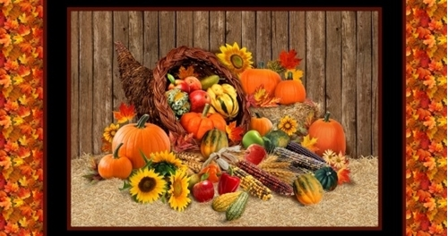 Picture of Harvest Time Pumpkins Gourds Fall Holiday 24x44 Cotton Fabric Panel